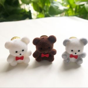 Set of 3 Teddy Bear Pins with Red Bow Tie Vintage